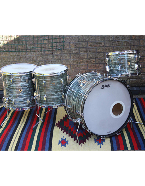 Vintage 1960s Ludwig Super Classic Blue Oyster Pearl Drum Kit