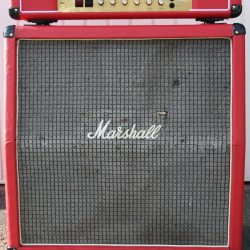 Vintage 1976 Marshall 4x12 Red Cabinet Celestion T1221s