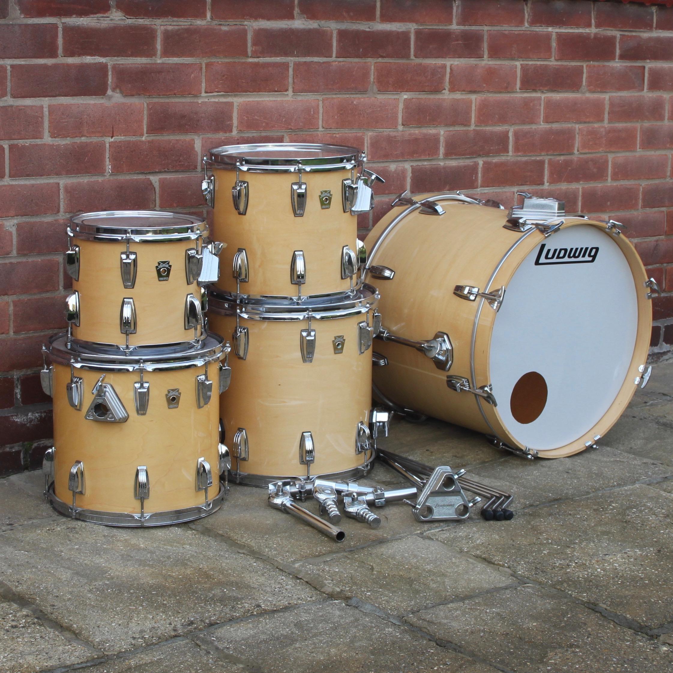 Vintage Ludwig Classic Maple Natural 5 Piece Drum Kit -