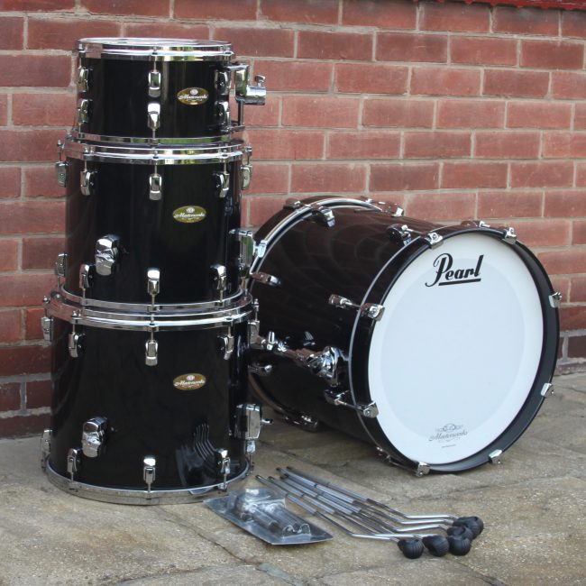2007 Pearl Masterworks Piano Black 4 Piece Drum Kit