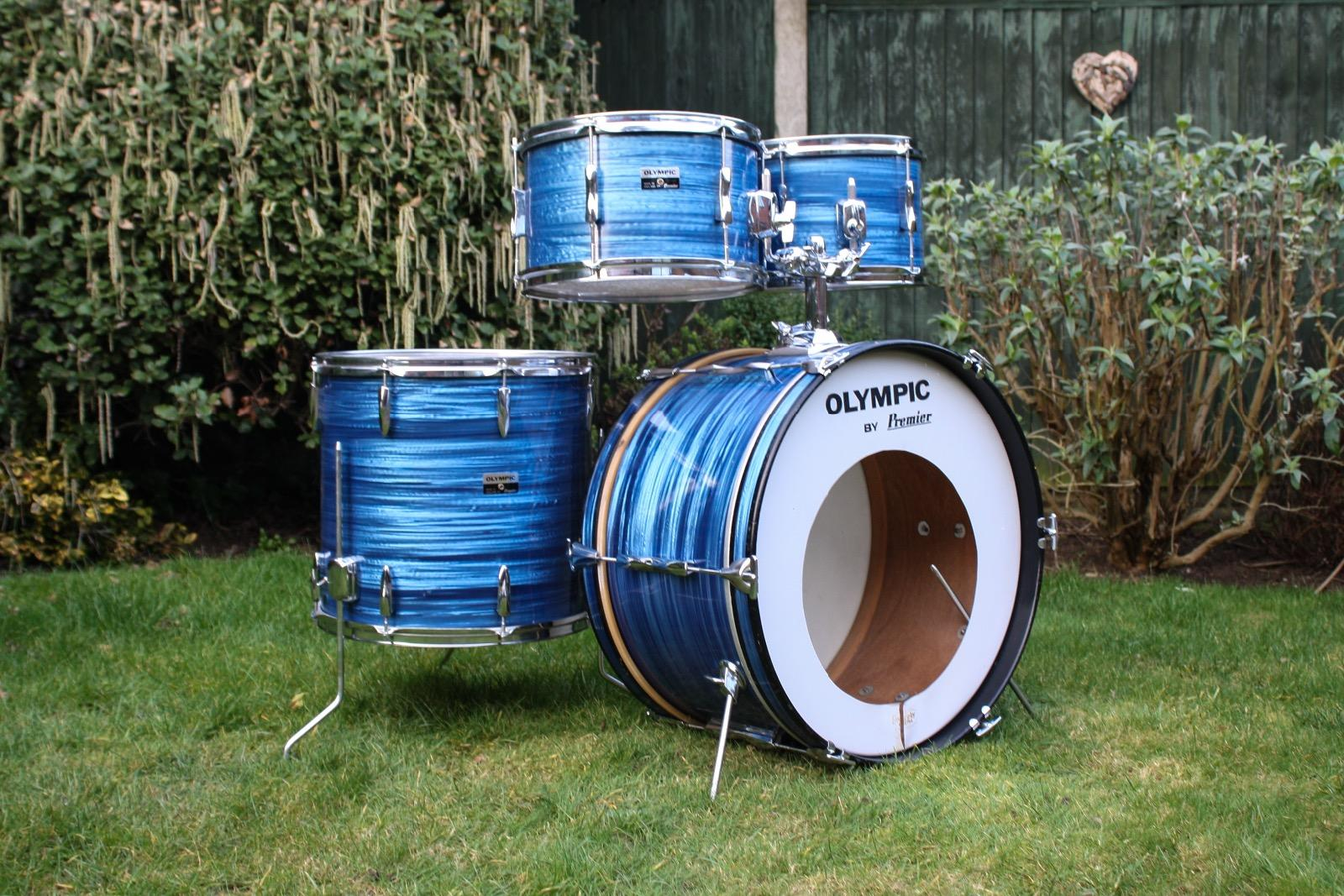Vintage 1970s Premier Olympic Blue Silk Pearl Drum Kit