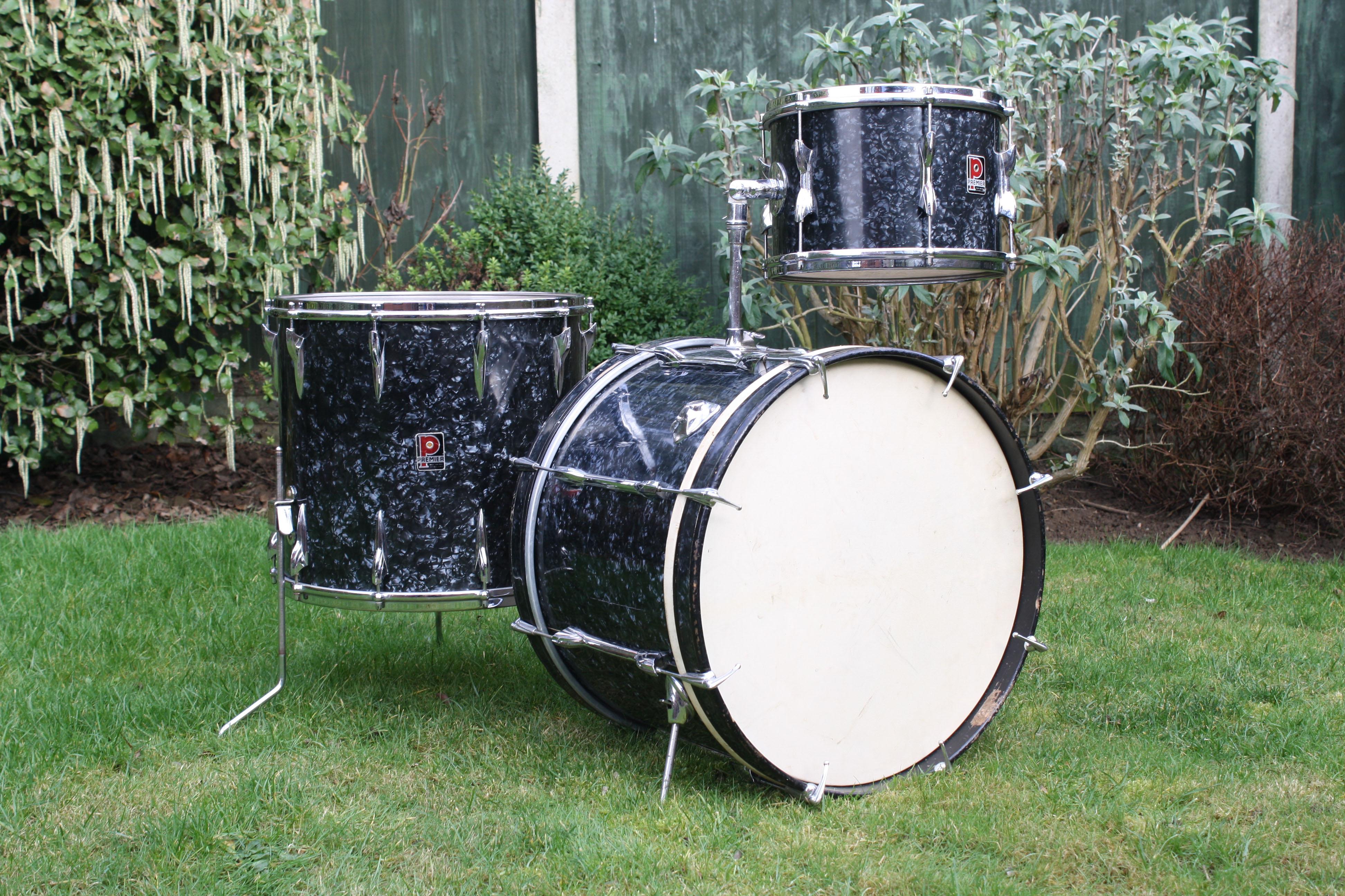 Vintage 1960s Premier 54 Outfit Black Diamond Pearl Drum Kit