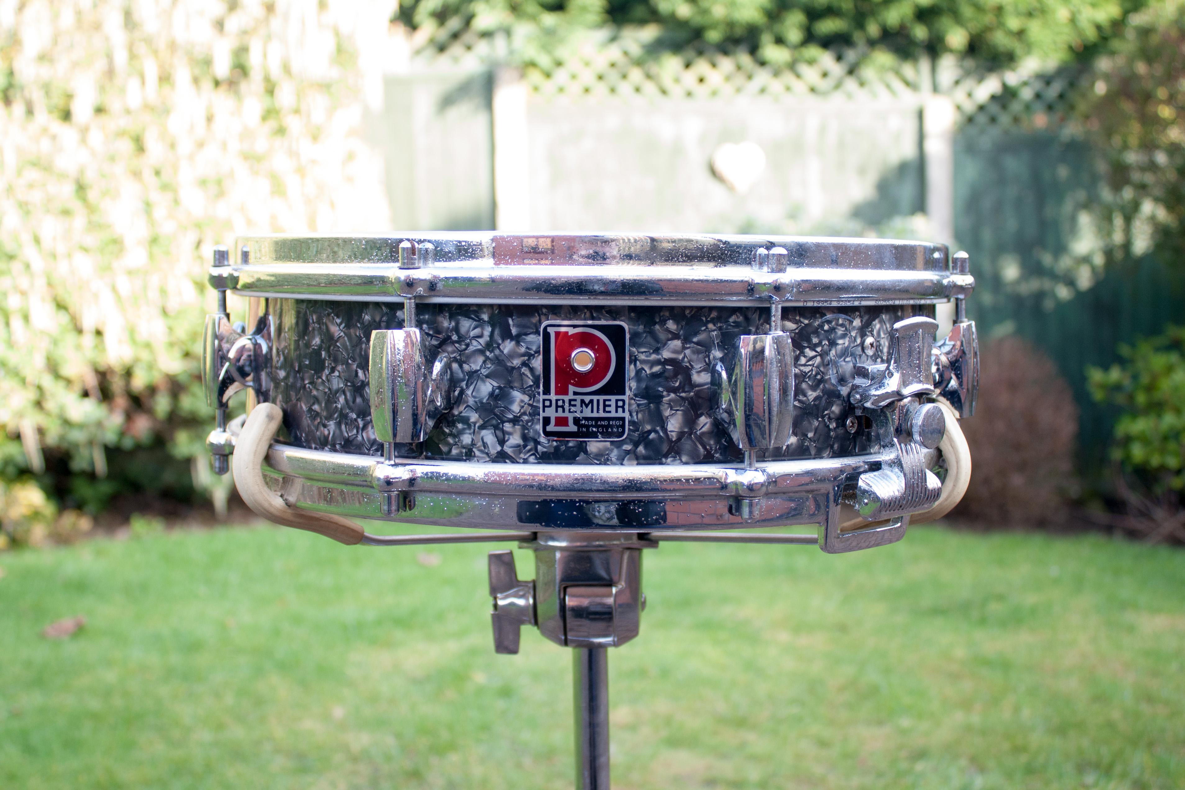 "Vintage 1960s Premier Royal Ace 4"" Black Diamond Pearl Snare Drum"