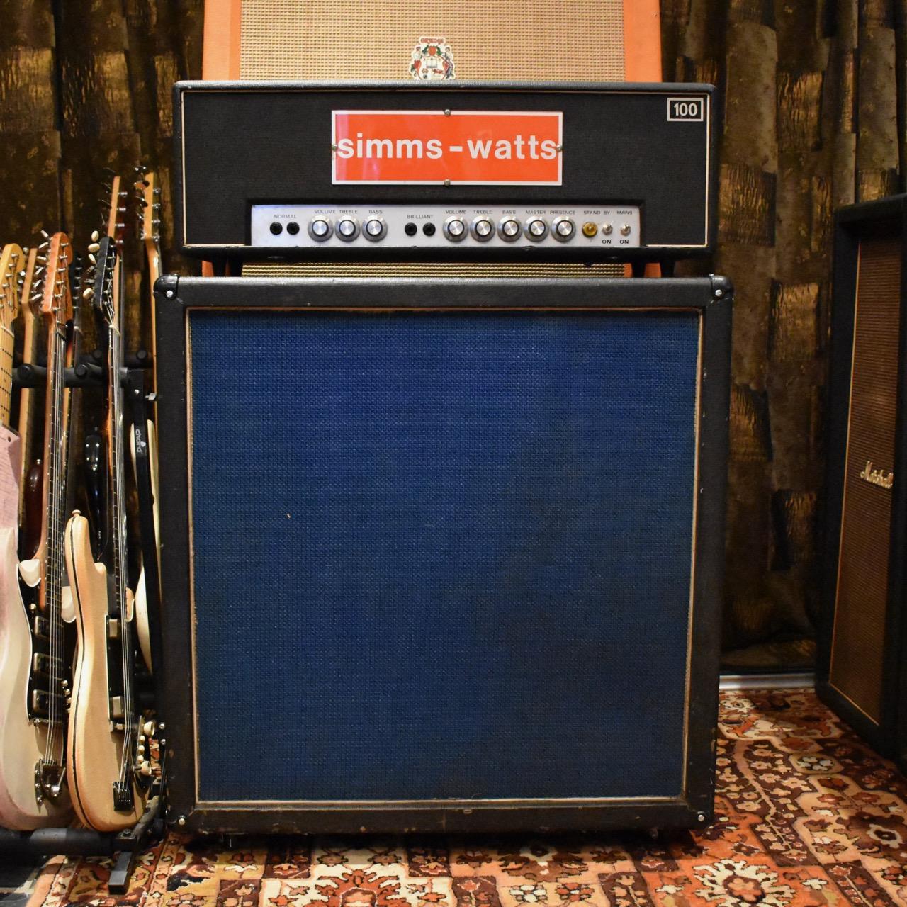 Vintage 1970s Simms Watts AP100 100w 4x12 Amplifier Cabinet
