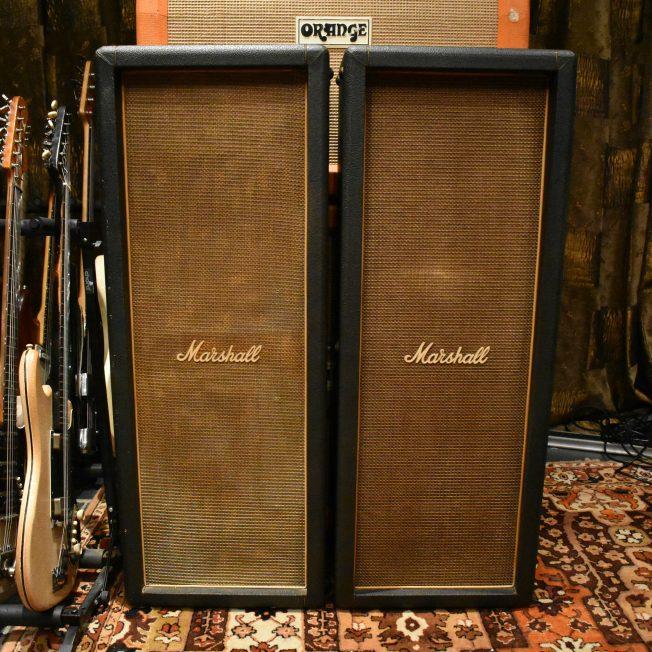 Vintage 1970 Marshall 2x12 Basketweave Columns Amplifier Cabinets