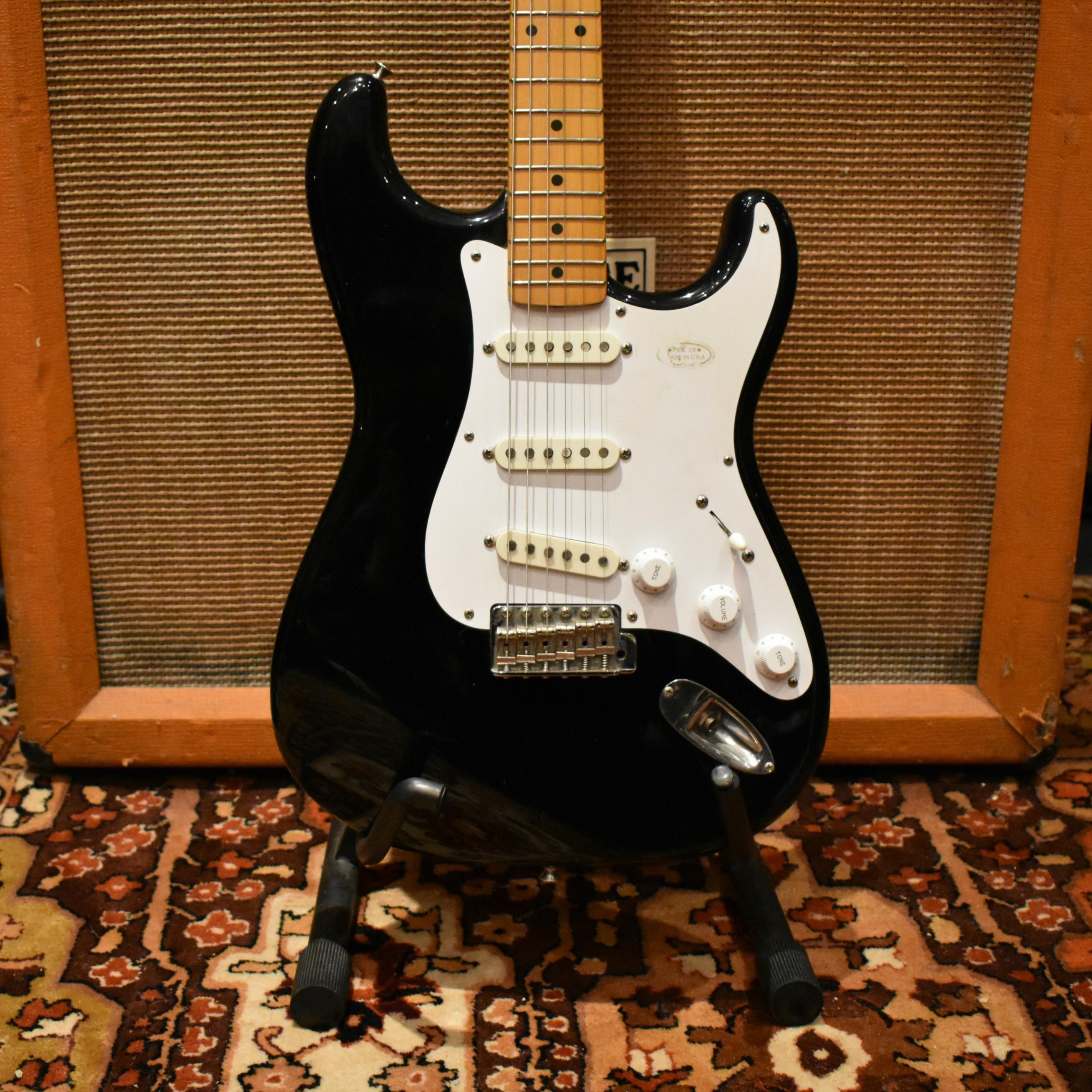 Vintage 1983 Fender JV Squier Stratocaster 57 Reissue Black Stratocaster