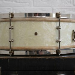 1920s 1930s Ludwig 14x5 Universal Snare White Avalon Marine Pearl