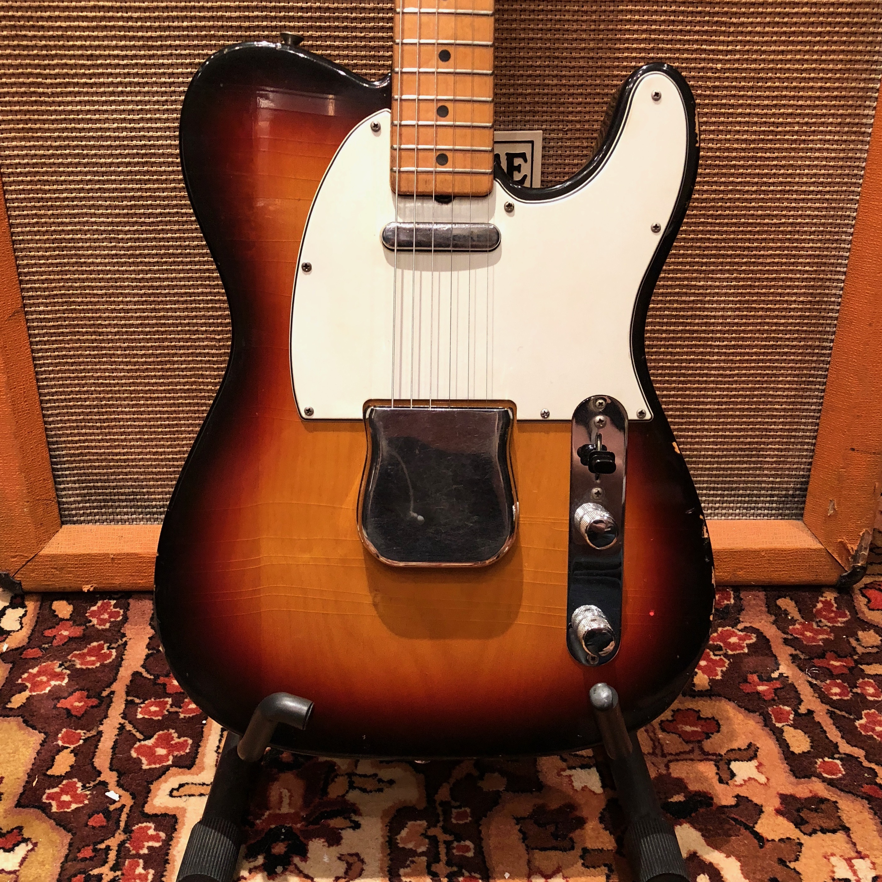 Vintage 1968 Fender Telecaster Sunburst Refin Maple Cap Electric Guitar