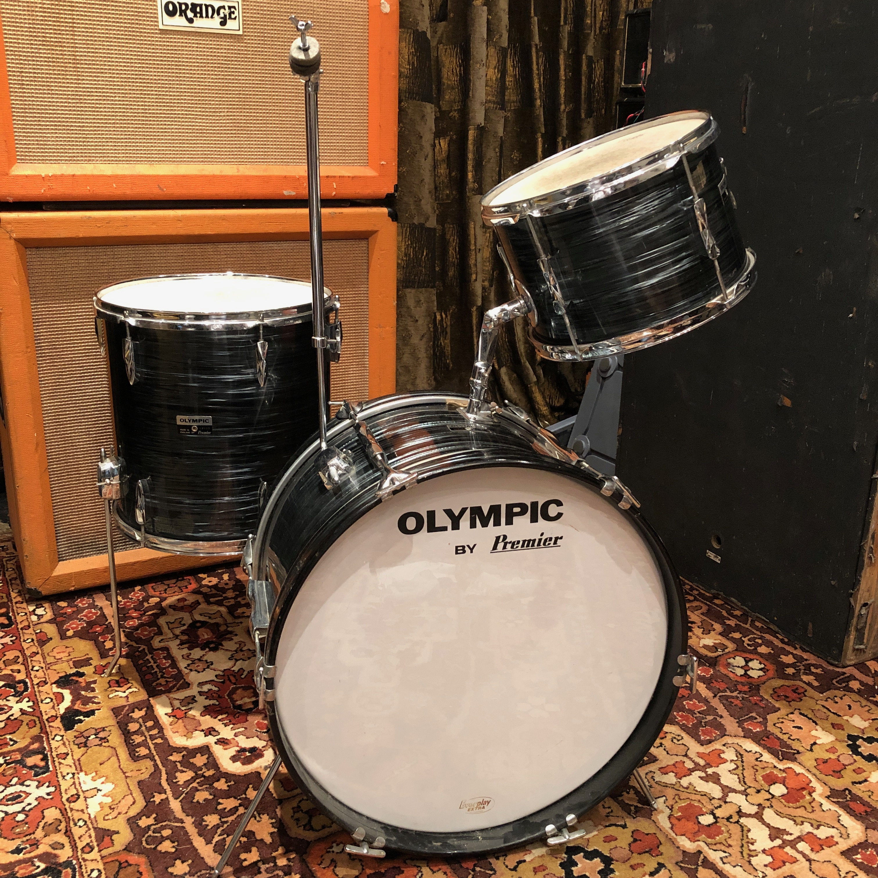 Vintage Premier Olympic Jazz Drum Kit Grey Pearl 20 14 12